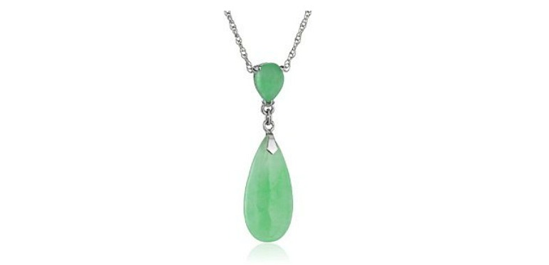 Sterling Silver Jade Double Drop Necklace