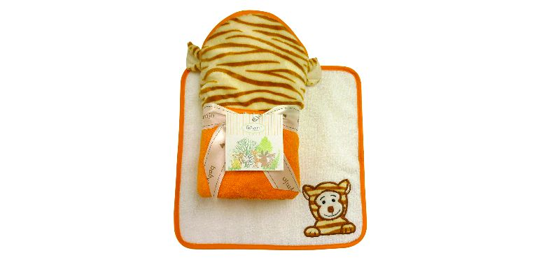 Hooded Towel and Washcloth Tiger Set