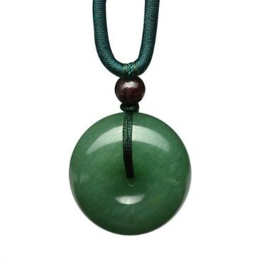 Jade Peace Button Pendant Necklace
