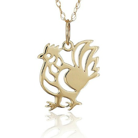 Gold Rooster Pendant Necklace